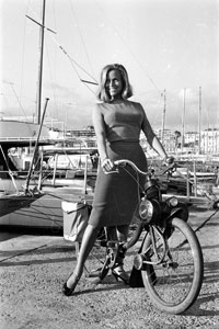 Honor Blackman on a Solex 2200