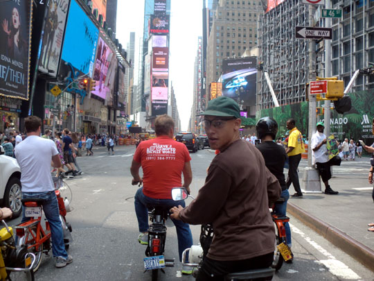 Velosolexists in Times Square