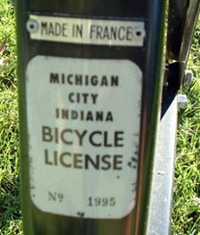 solex indiana bicycle license